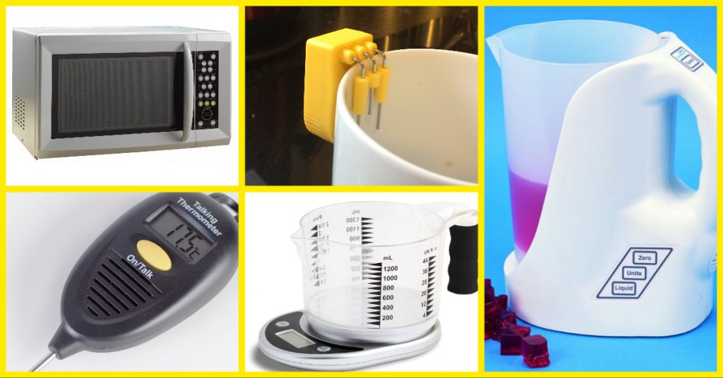 sight loss aids for the kitchen - Talking Microwave, Liquid Level Indicator, Talking Measuring Jug, Talking Food Thermometer, Talking Scales
