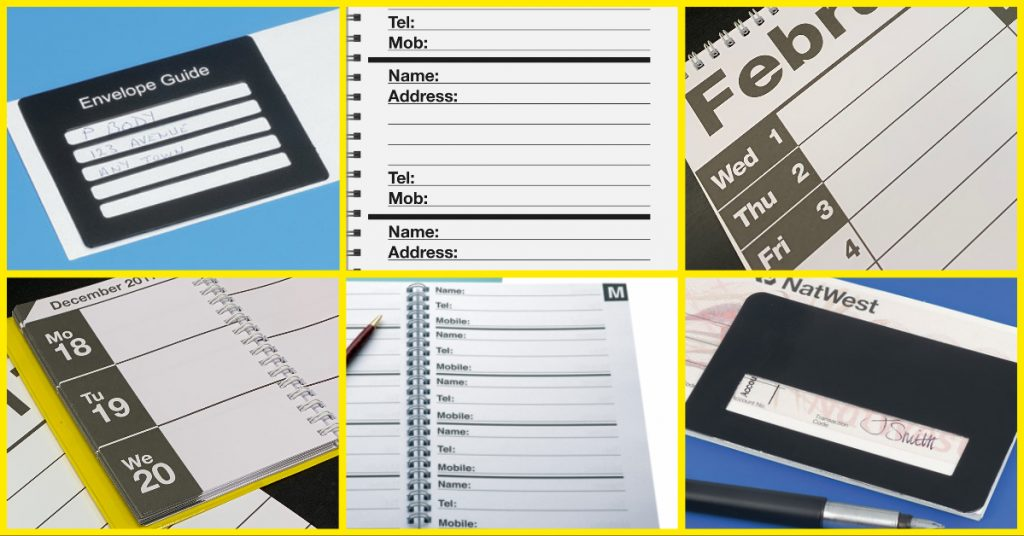 sight loss aids for keeping in touch - Envelope Guide, Address book, Large print calendar, Diary, Telephone Book Signature Guide.