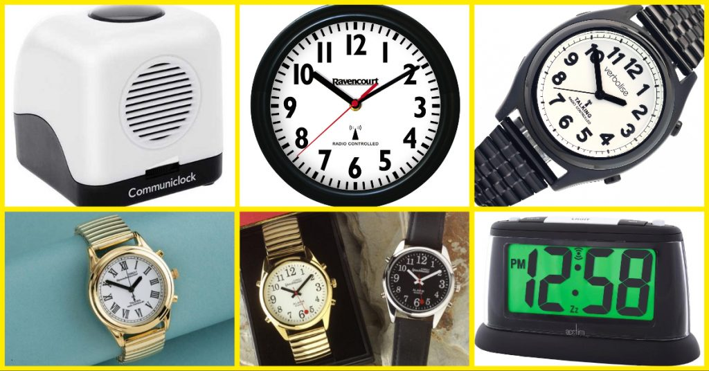 sight loss aids - talking clocks and watches. RNIB Single Button Communi Clock, Big Number Wall Clock Radio Controlled watch with black numbers, Ladies Gold Watch, Watch with leather strap and black face, Digital Alarm Clock